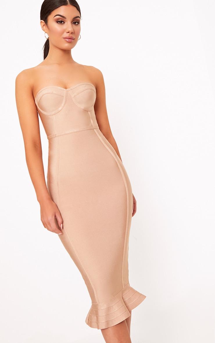 Roxina Camel Bandage Frill Hem Midi Dress 4