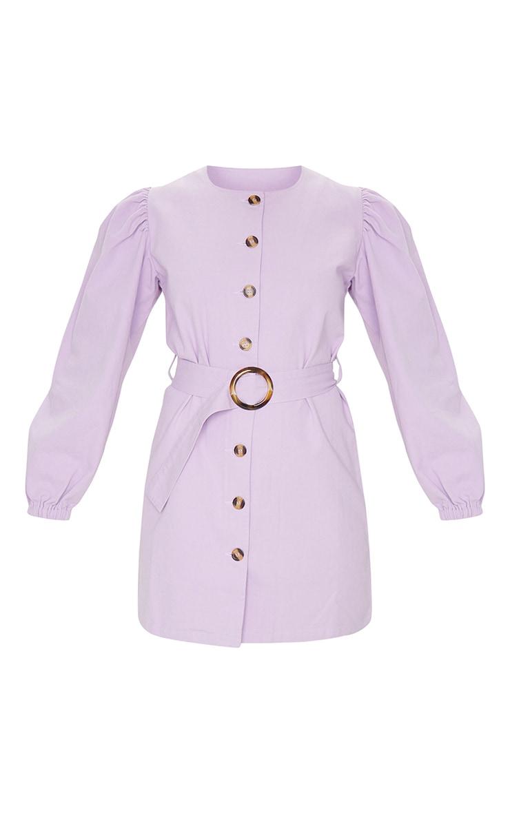 Lilac Button Through Balloon Sleeve Belted Denim Dress 5