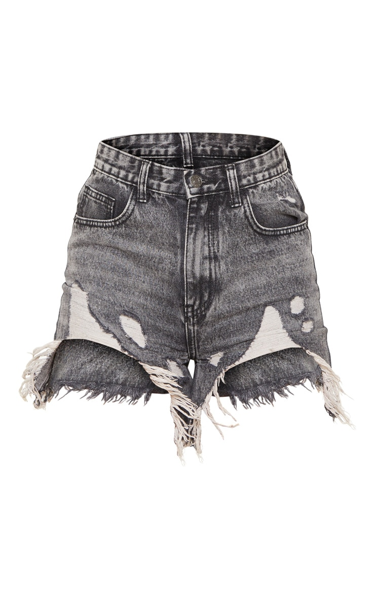 Washed Grey Distressed Denim Short 3