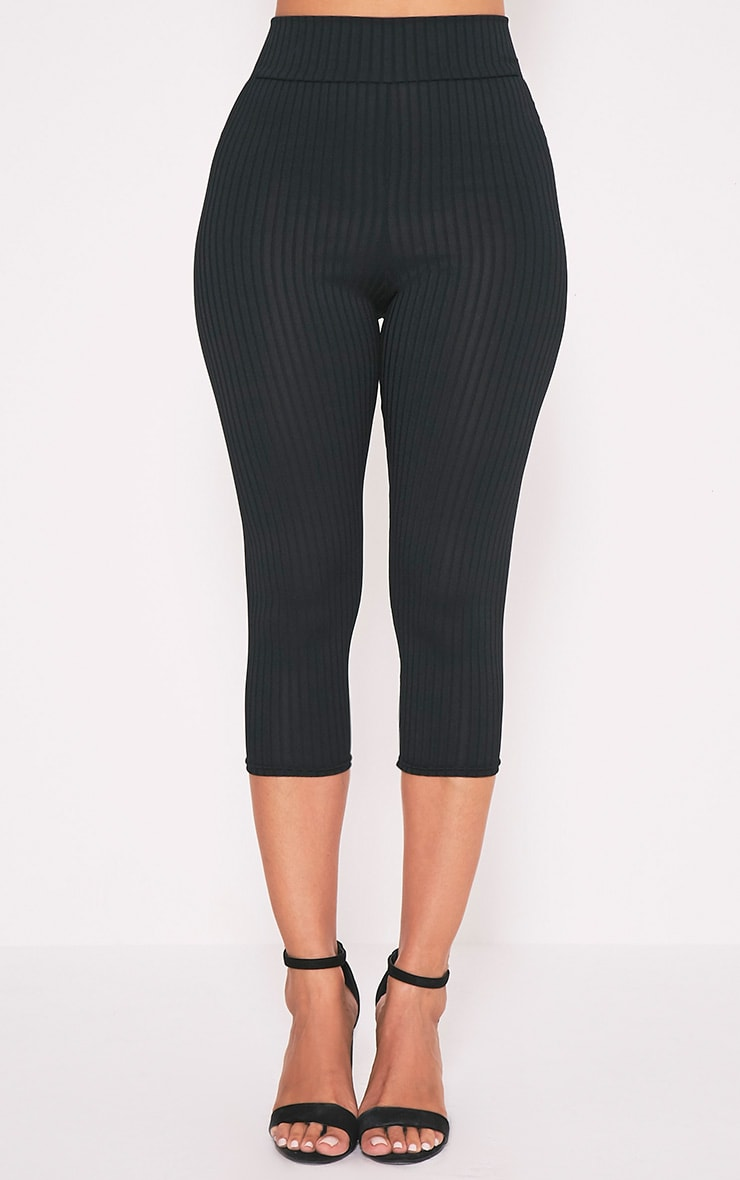 Harlie Black Cropped Ribbed High Waisted Leggings 2
