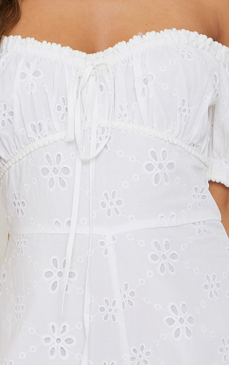White Broderie Anglaise Bardot Ruched Bust Romper 4