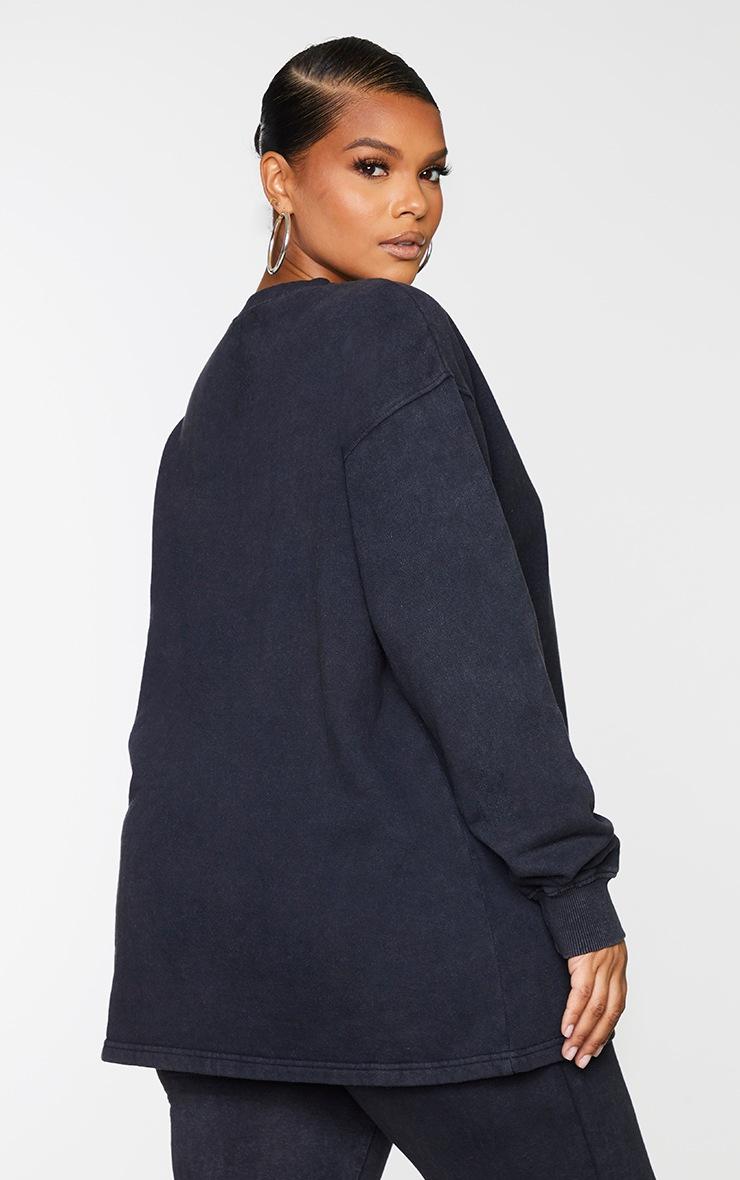 Plus Black Washed Longline Sweater 2