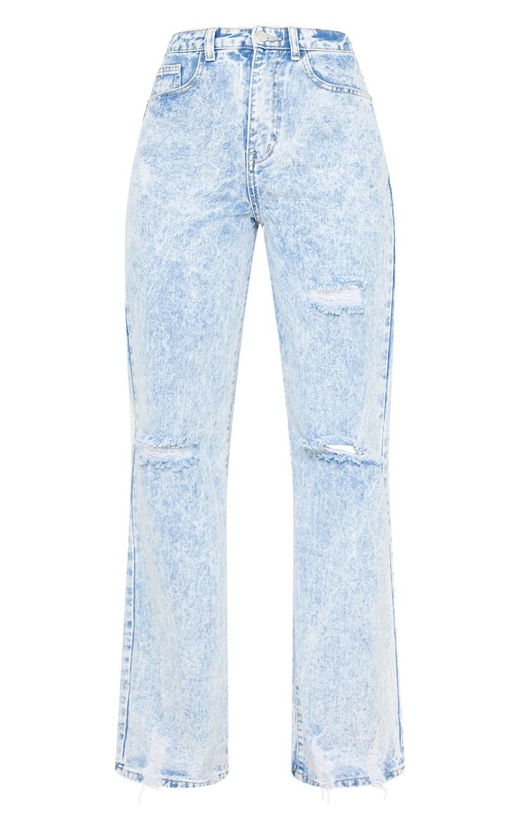 Acid Blue Wash Distressed Hem Wide Leg Jeans 5