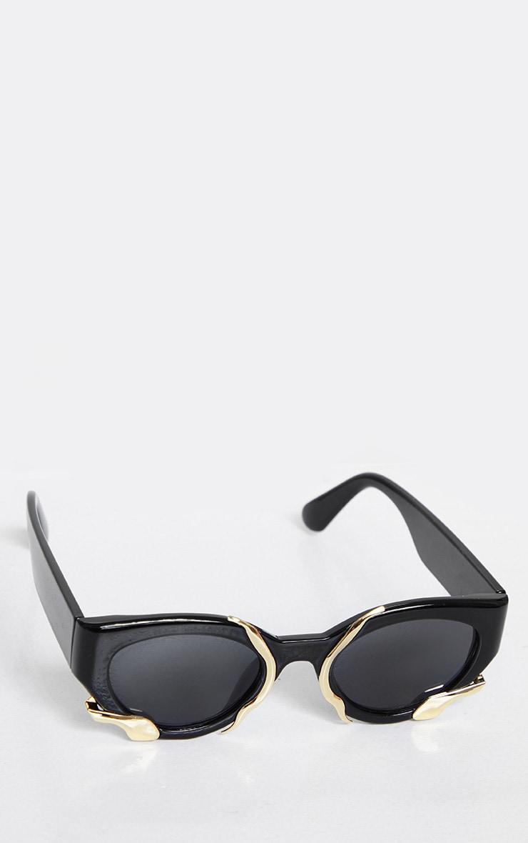 Black Frame Gold Trim Cat Eye Sunglasses 2