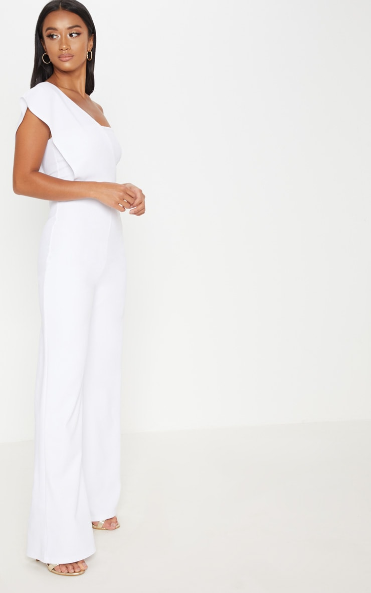 Petite White Drape One Shoulder Jumpsuit 5