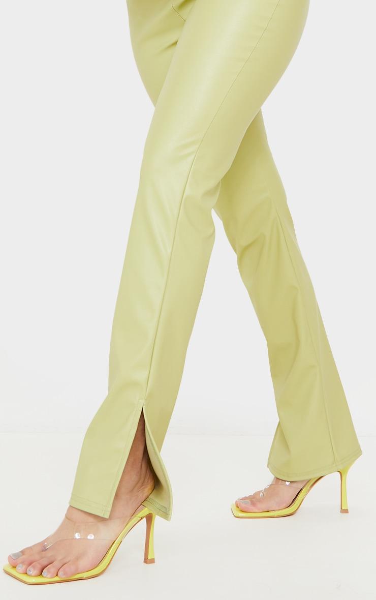 Petite Sage Green PU Split Hem Trousers 4
