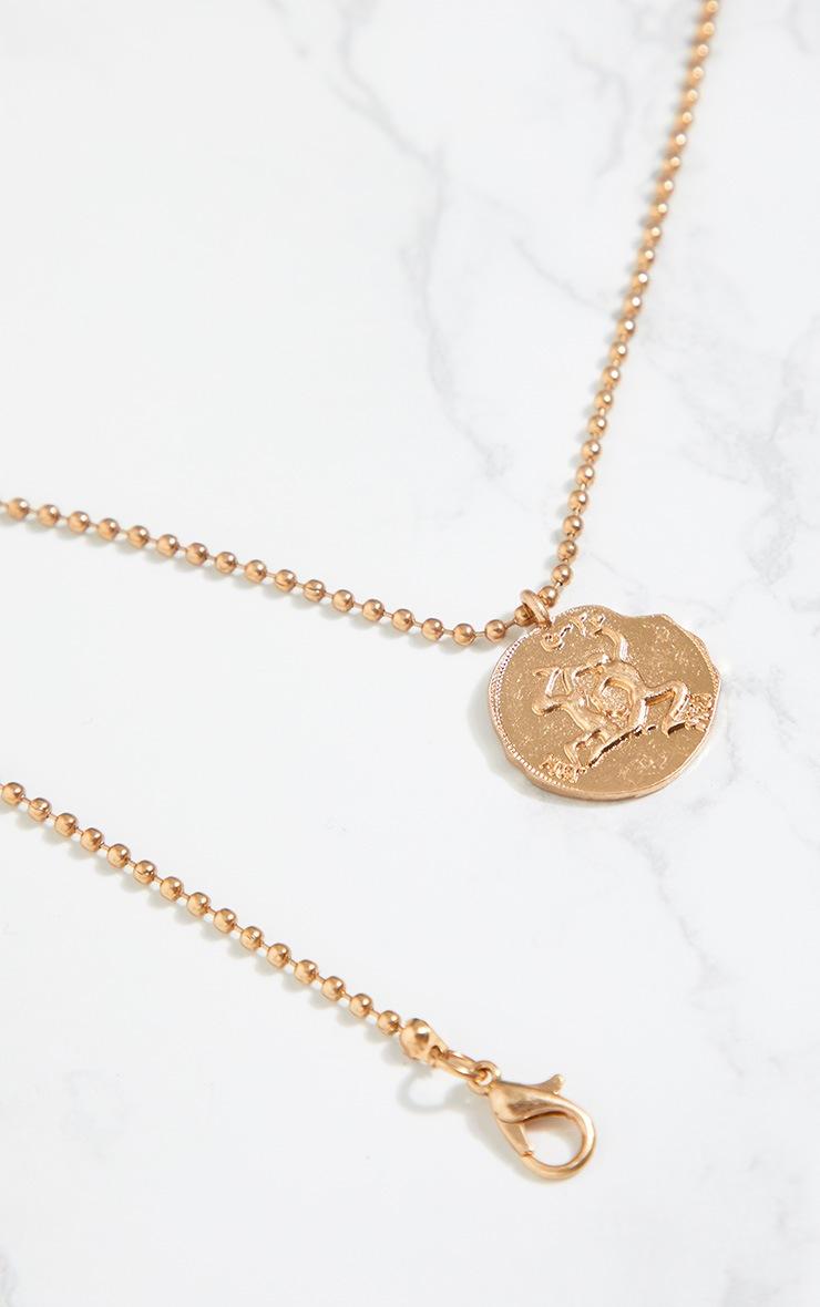 Gold Zodiac Gemini Coin Pendant Necklace 4