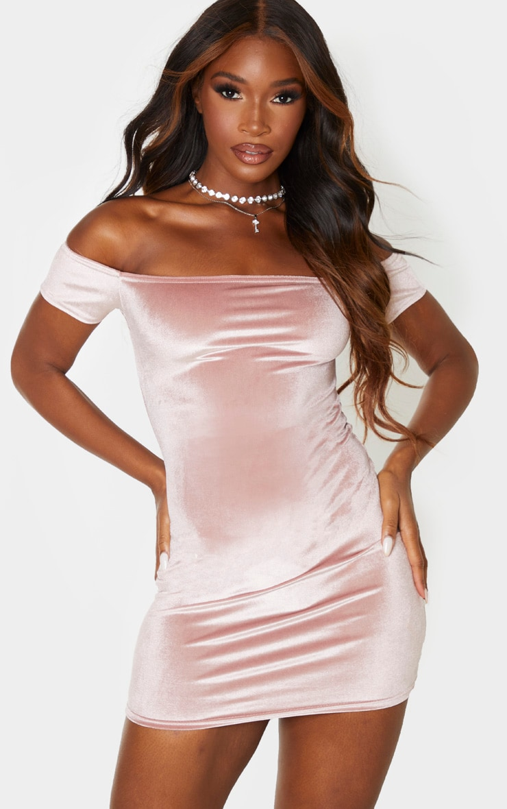 Rose Velvet Short Sleeve Bardot Bodycon Dress 1