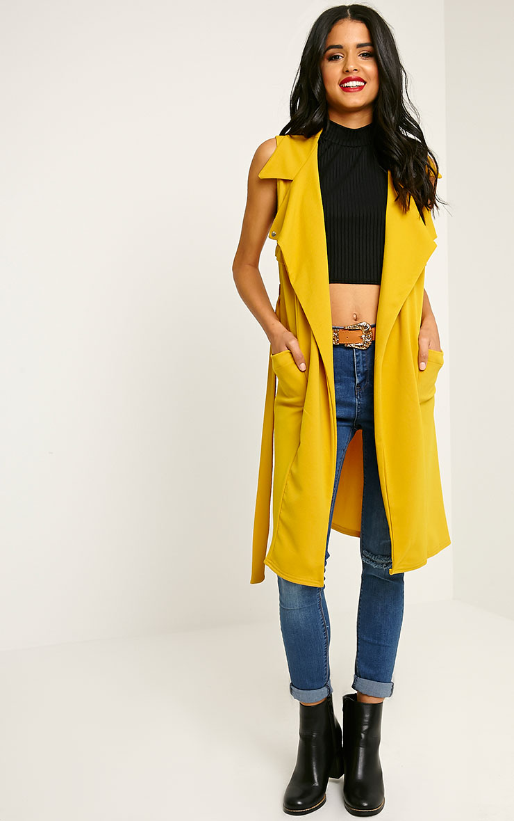 Tegan Mustard Sleeveless Duster Jacket 3