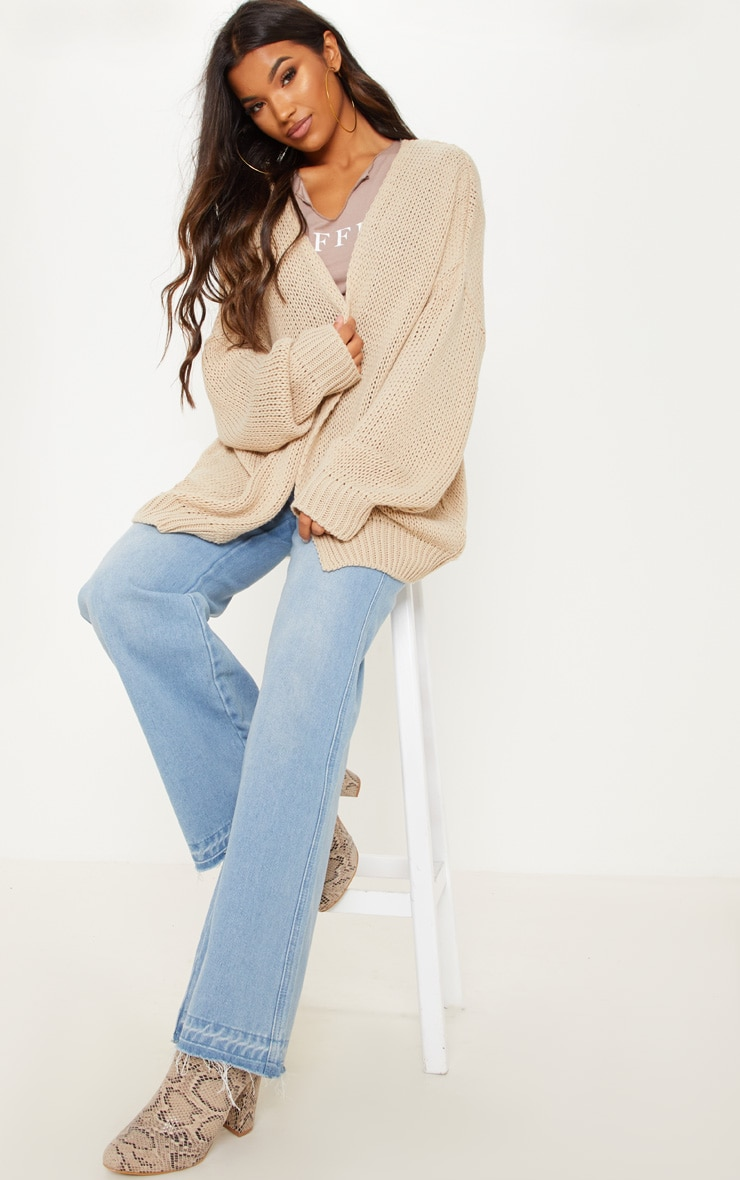 Camel Loose Knit Cardigan  1