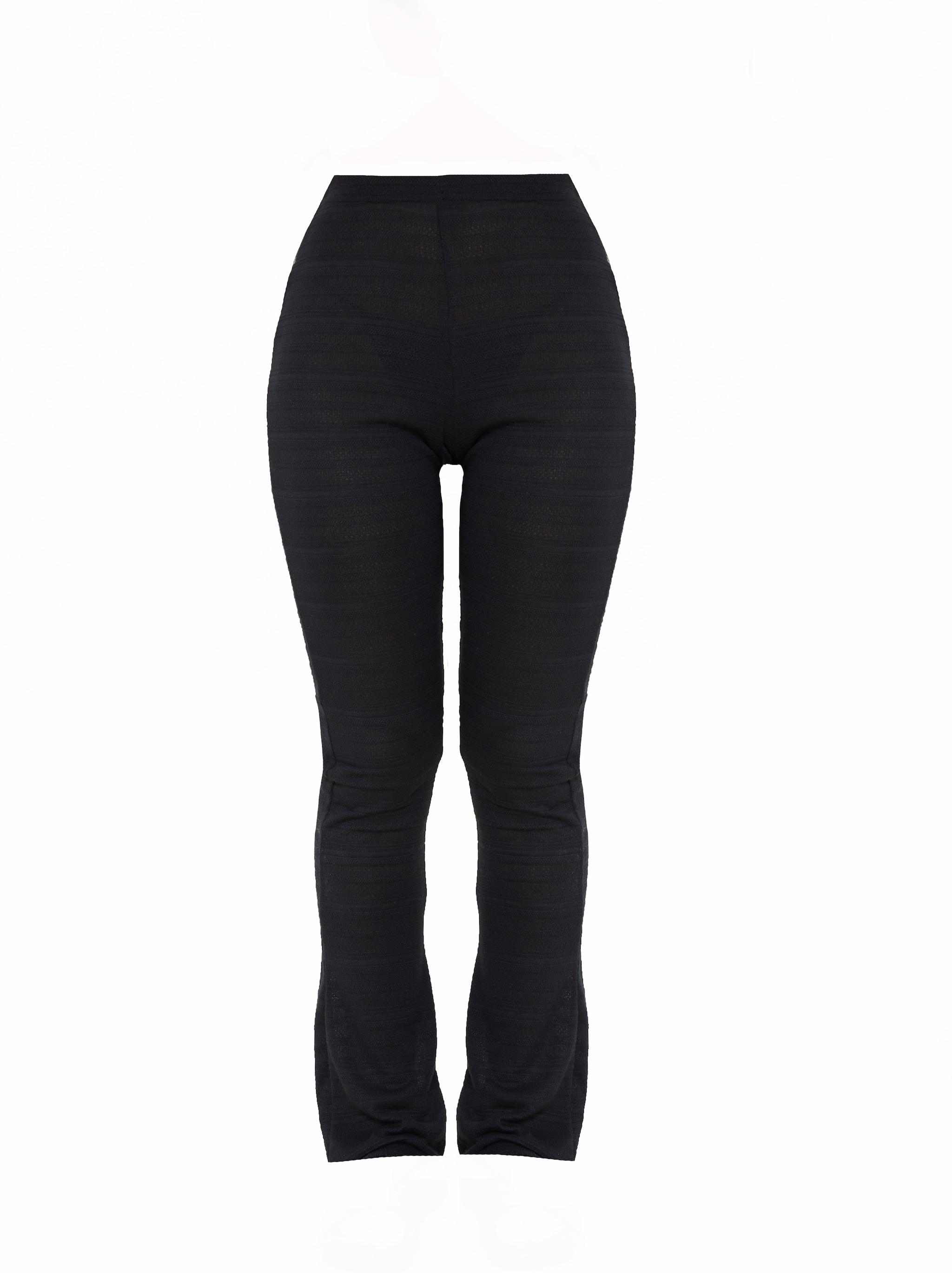 Black Textured Skinny Flared Pants 5