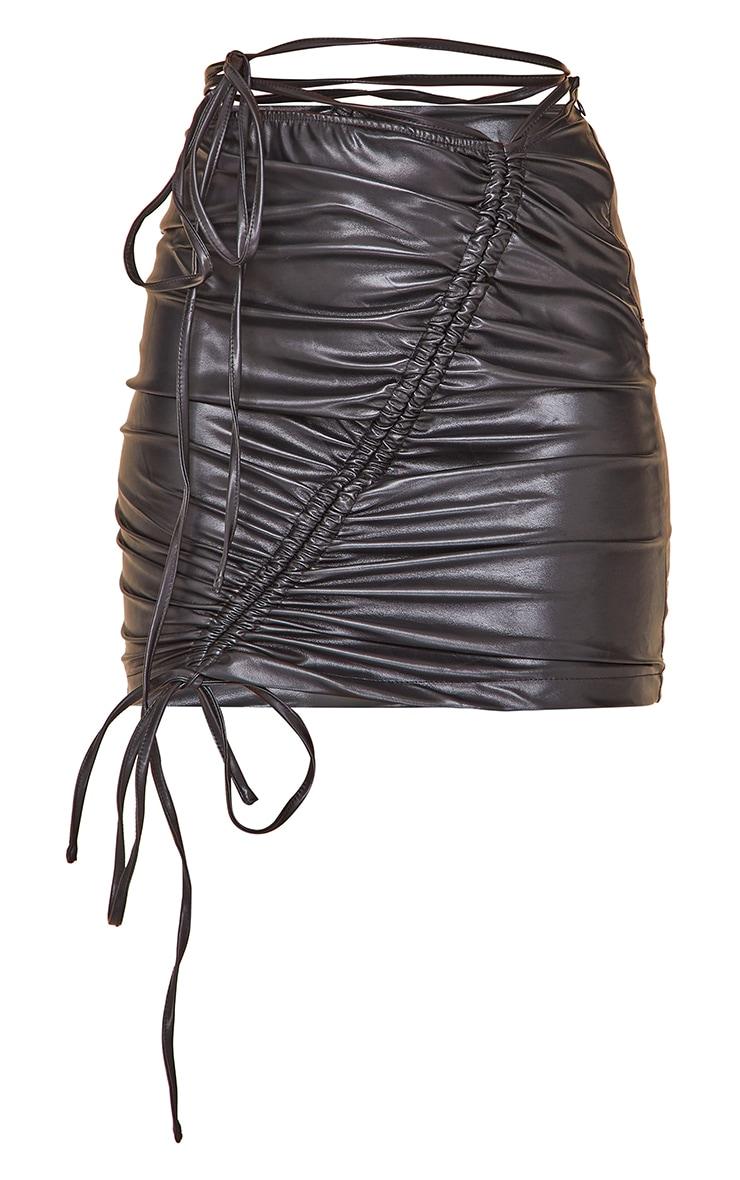 Black Faux Leather Ruched Asymmetric Tie Waist Mini Skirt 6