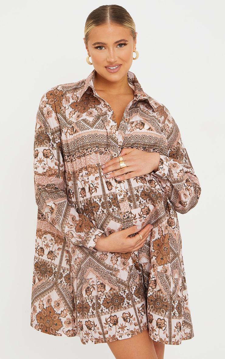 Maternity Brown Oversized Long Sleeve Smock Dress 1