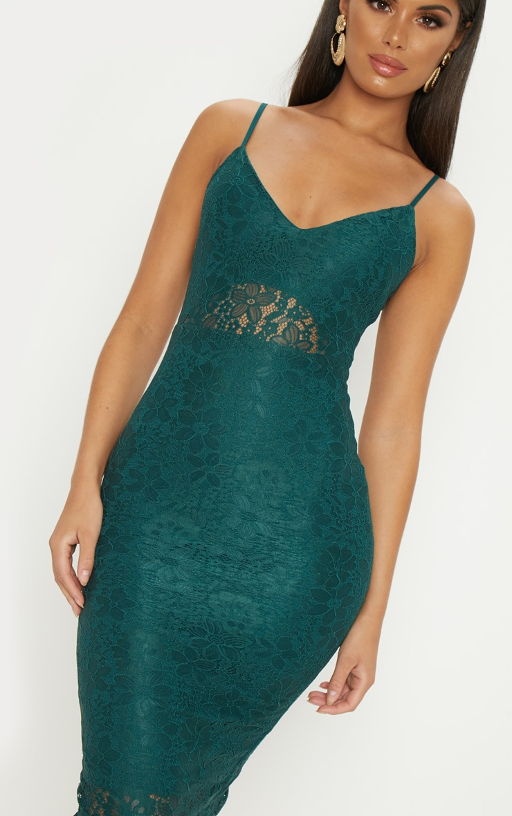 Emerald Green Lace Plunge Midi Dress  5