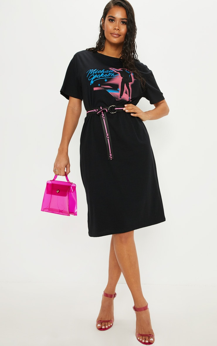 Michael Jackson Slogan Black Neon Midi T Shirt Dress