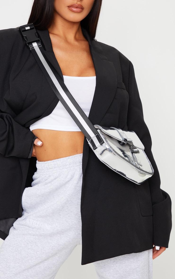 Silver Metallic Cross Body Bag 2