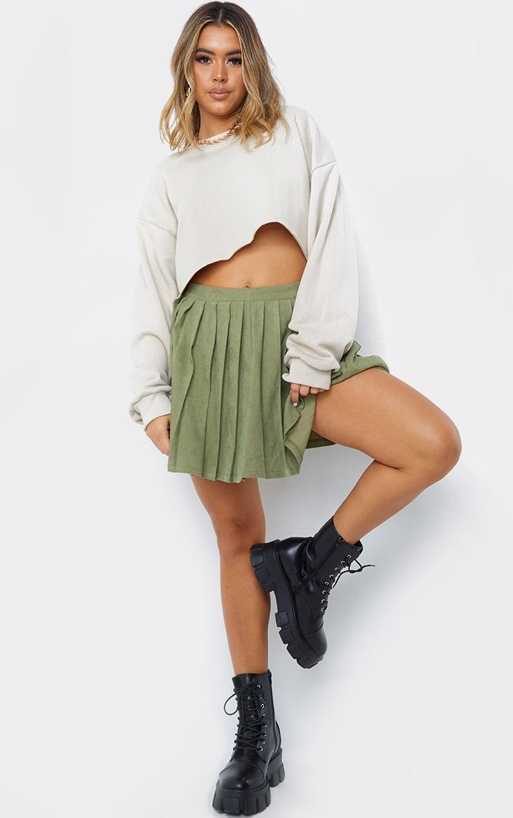 Khaki Cord Pleated Skater Skirt 1