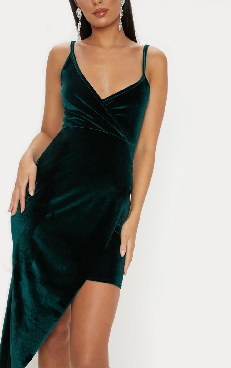 Emerald Green Velvet Draped Midi Dress 5