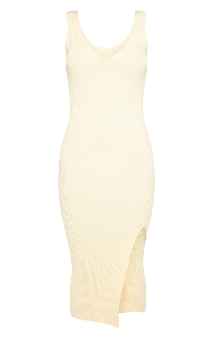 Yellow V Neck Side Split Knitted Midi Dress 5