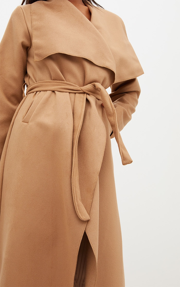 Camel Maxi Length Oversized Waterfall Belted Coat 5