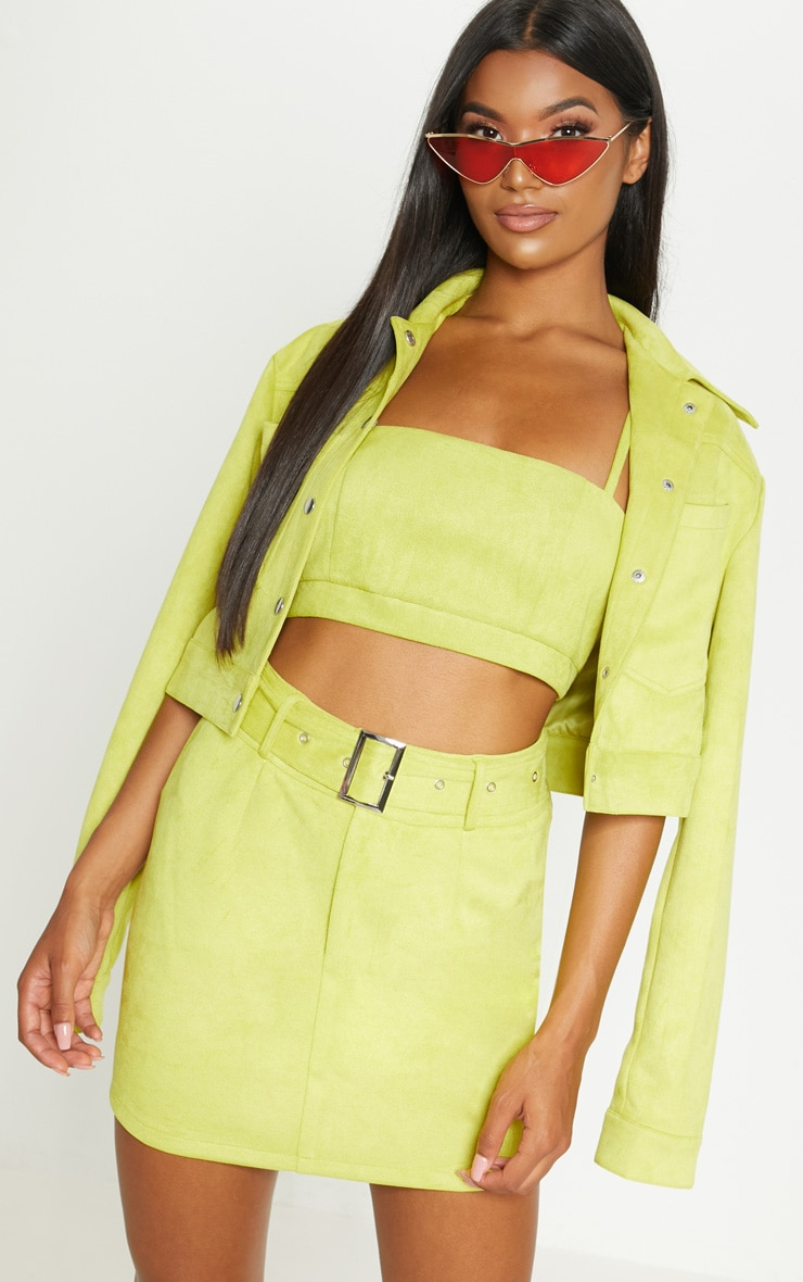 Lime Green Bonded Suede High Waisted Skirt  2