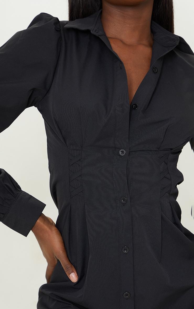 Tall Black Corset Detail Long Sleeve Shirt Dress  4