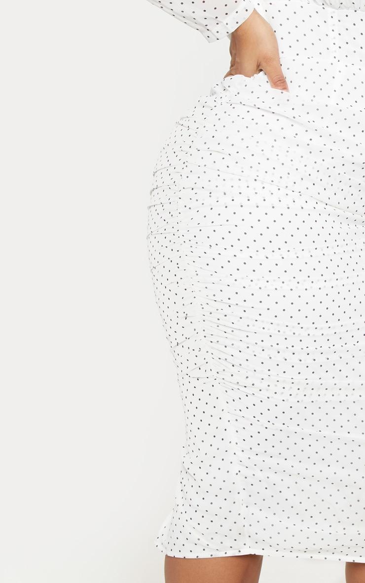 PLT Plus - Robe mi-longue blanche à pois à détail corset 5