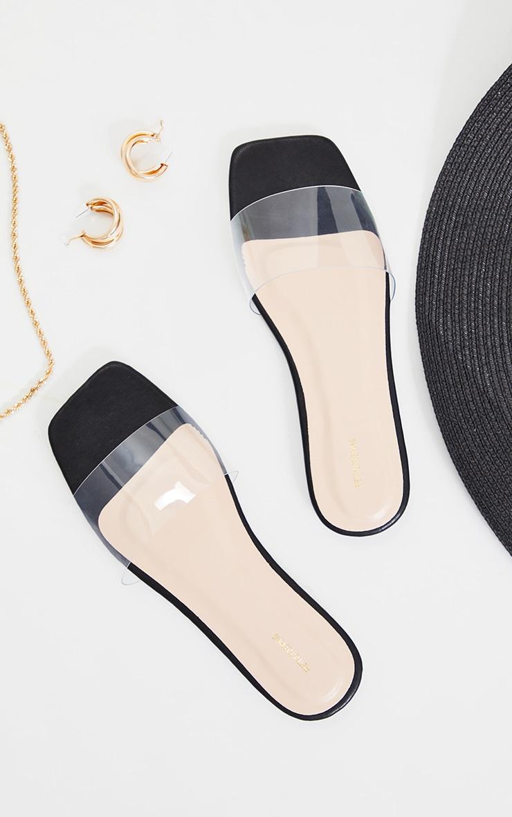 Black WIDE FIT PU Clear Strap Mule Sandals 3