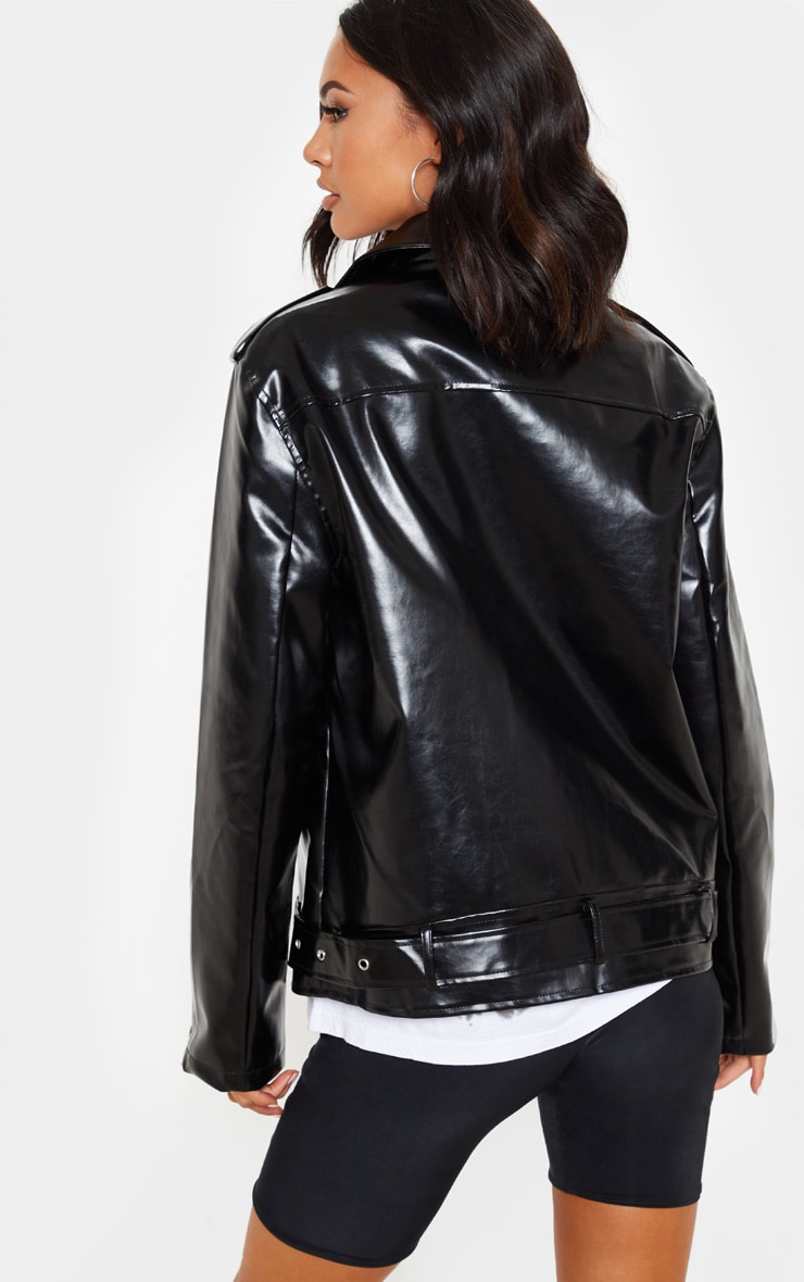 Black Oversized PU Biker Jacket 2