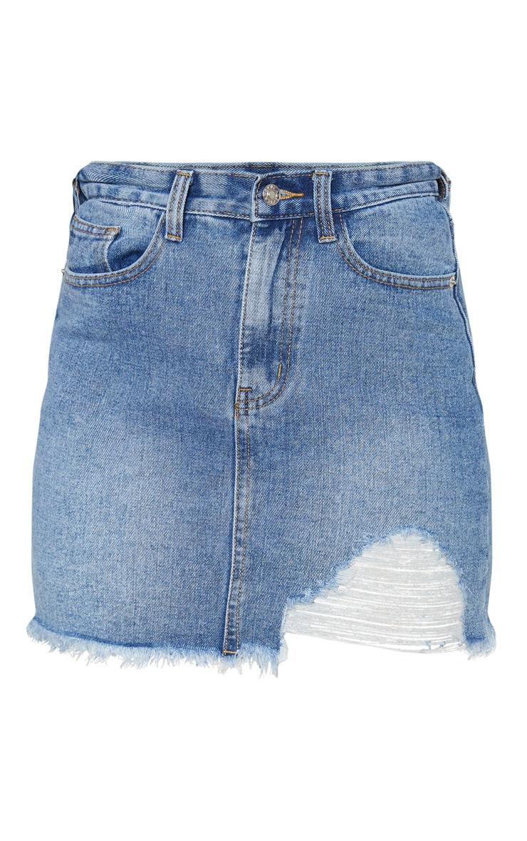 Petite Mid Washed One Sided Distressed Hem Denim Skirt 3