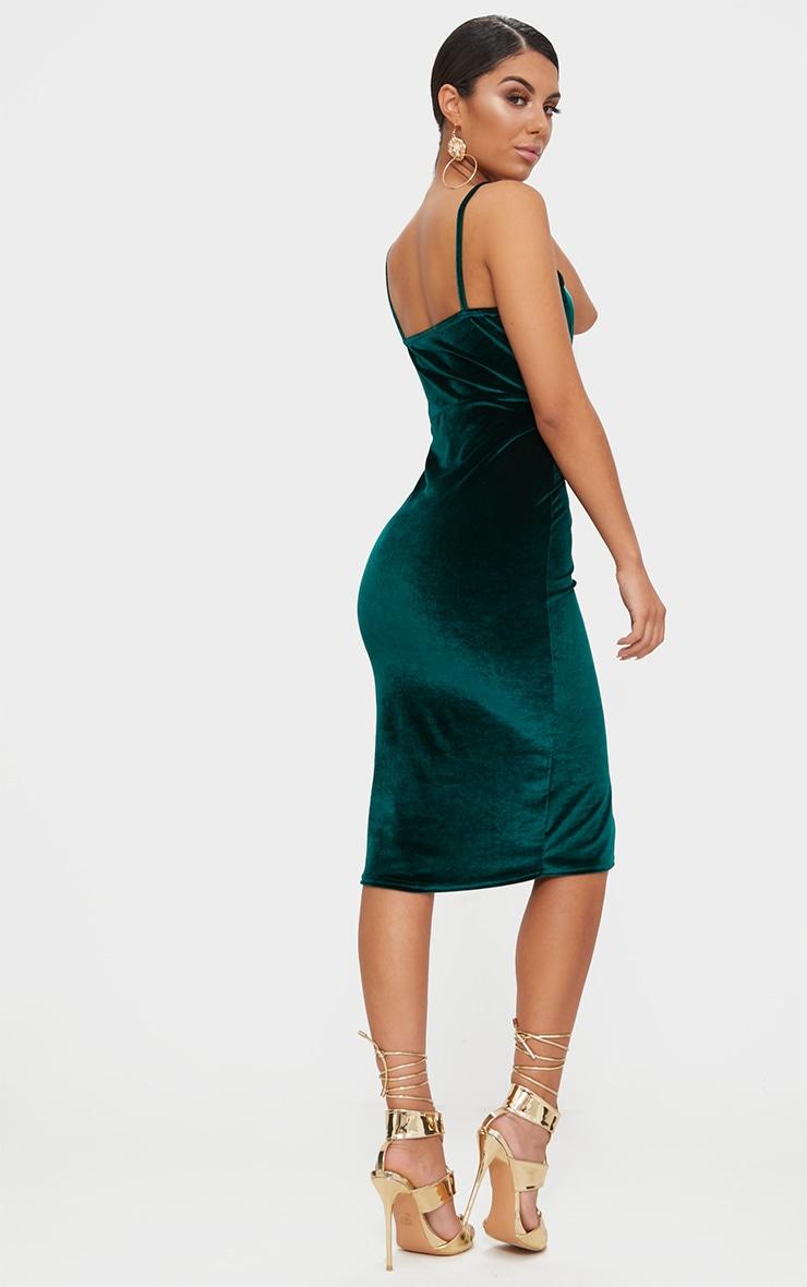 Emerald Green Velvet Plunge Twist Front Midi Dress 2