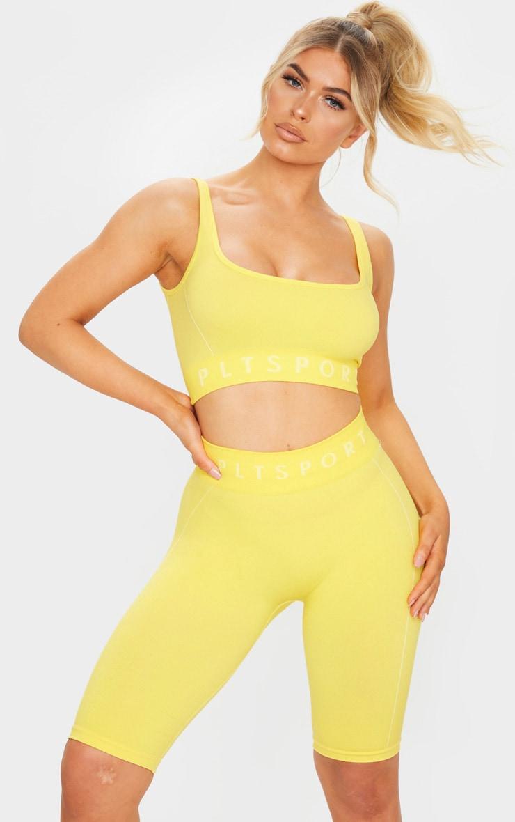 PRETTYLITTLETHING Yellow Sport Linear Detail Seamless Sports Bra 1