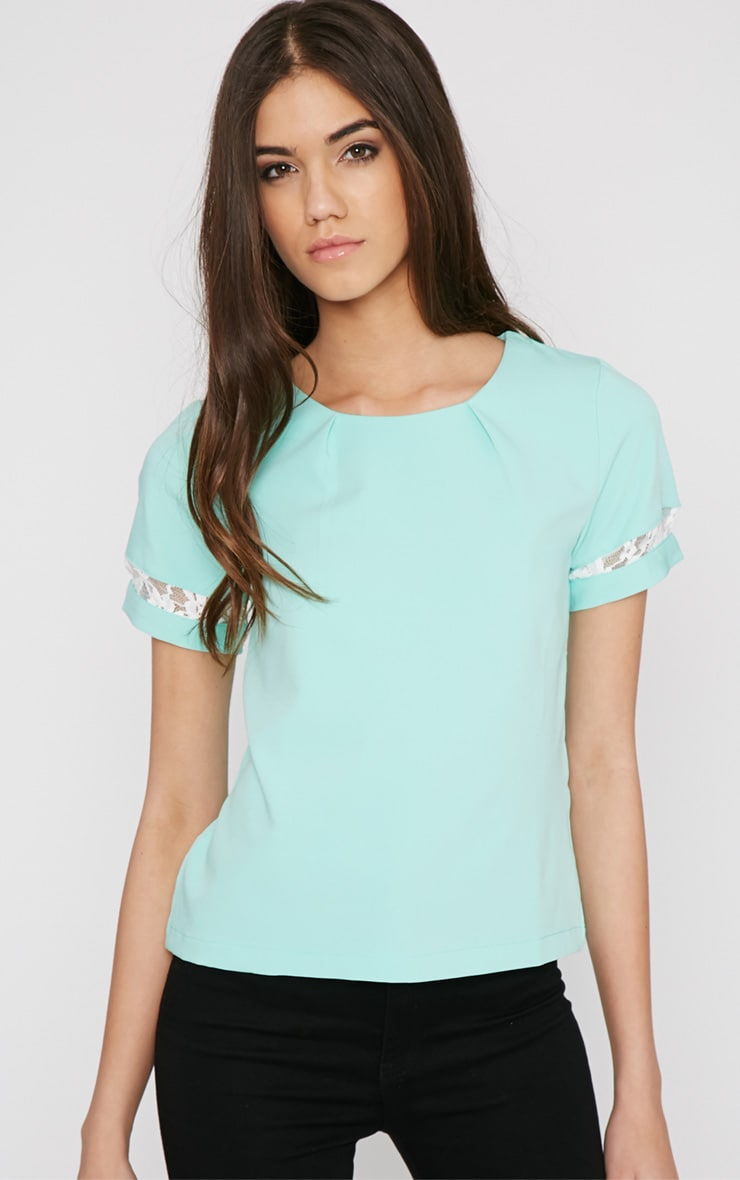 Angelina Mint Boxy Top with Lace Detail 4