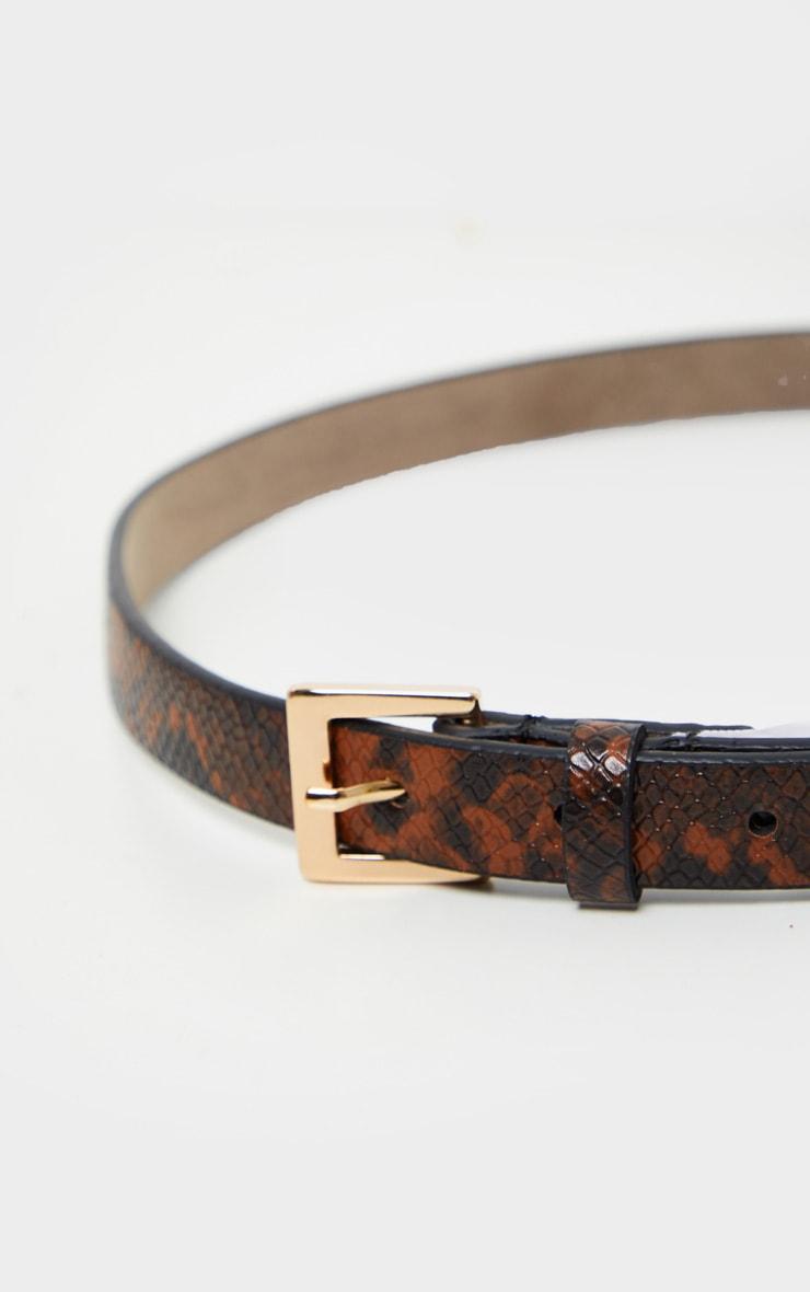 Brown Snake Skinny Basic Belt 1
