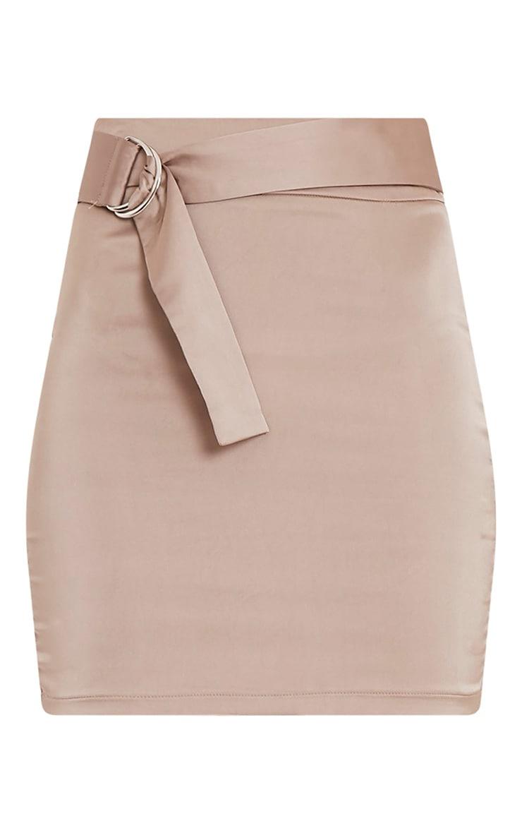Helina Taupe Satin D Ring Mini Skirt 3