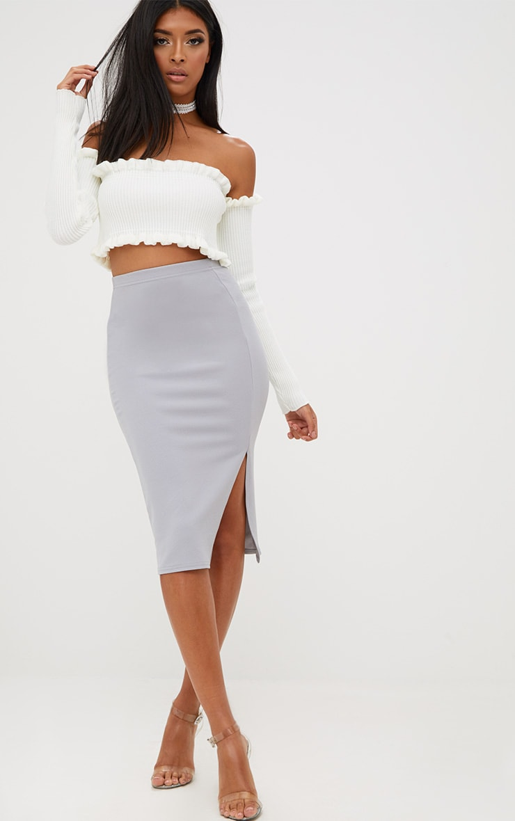 Grey Basic Split Midi Skirt 1