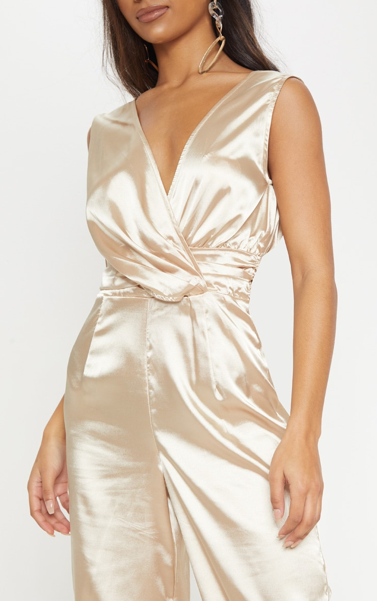 Champagne Wrap Over Ruched Waist Jumpsuit 5