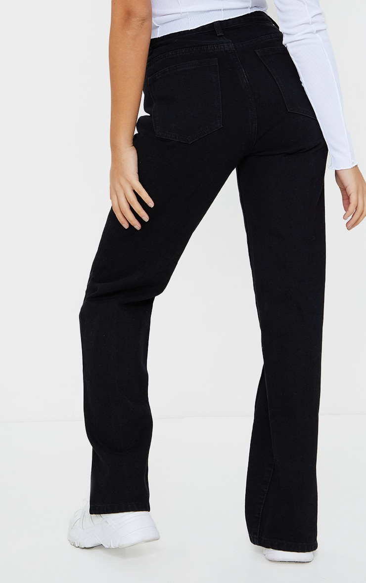 Petite Black Front Seam Split Hem Denim Jeans 3