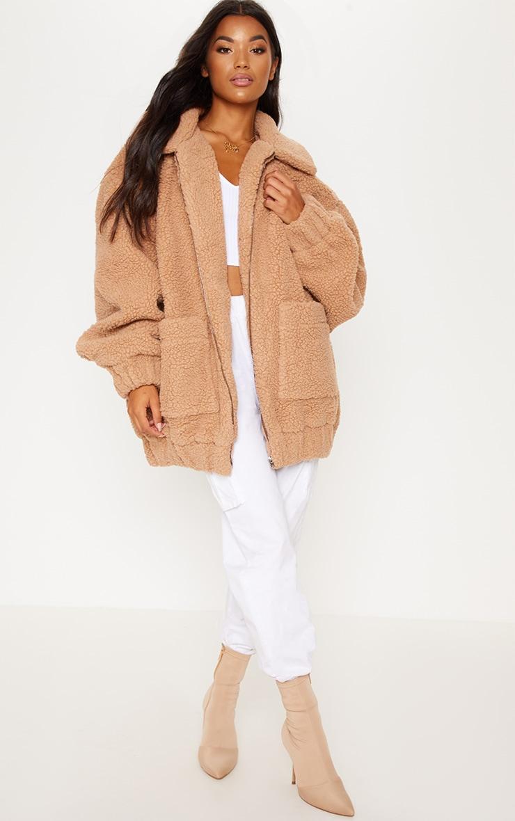 Camel Borg Pocket Front Coat  4