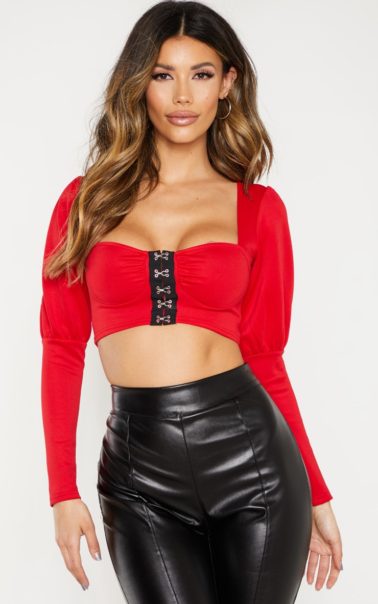 Red Hook And Eye Long Sleeve Crop Top 1