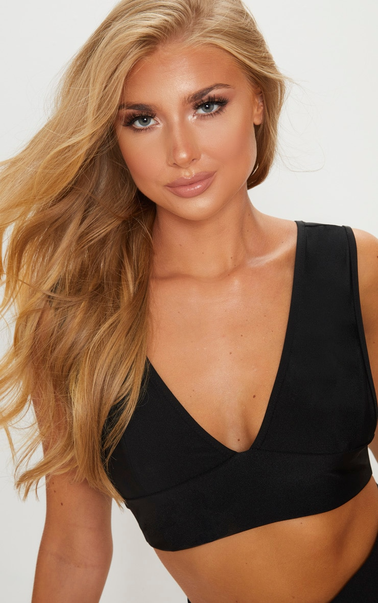 Black Deep Elasticated Plunge Bikini Top 5