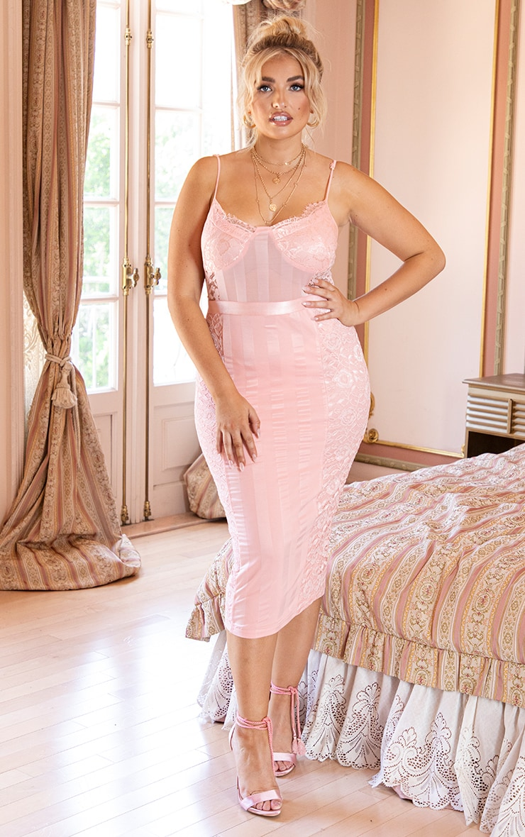 Plus Pink Lace Lined Midi Dress 1