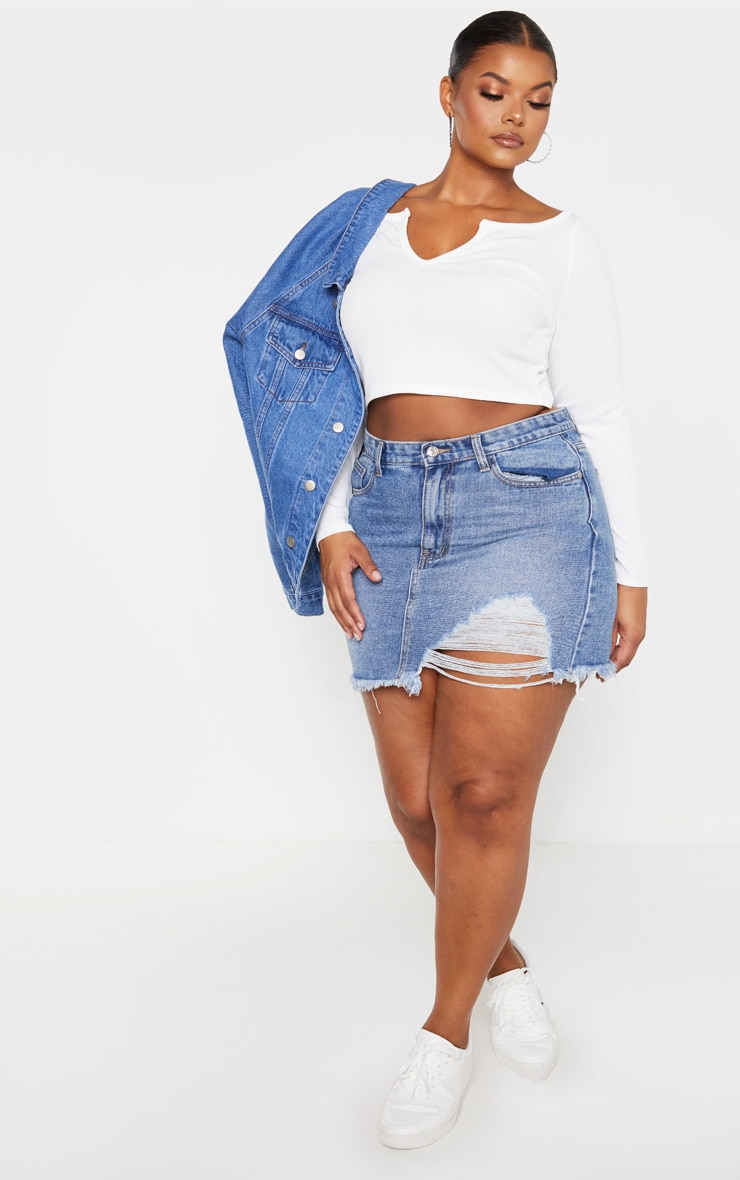 Plus White V Neck Long Sleeve Crop Top  4