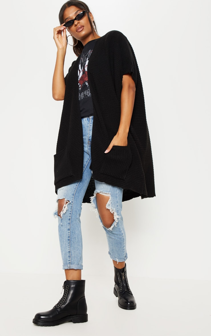 Black Chunky Knit 3/4 Sleeve Cardigan