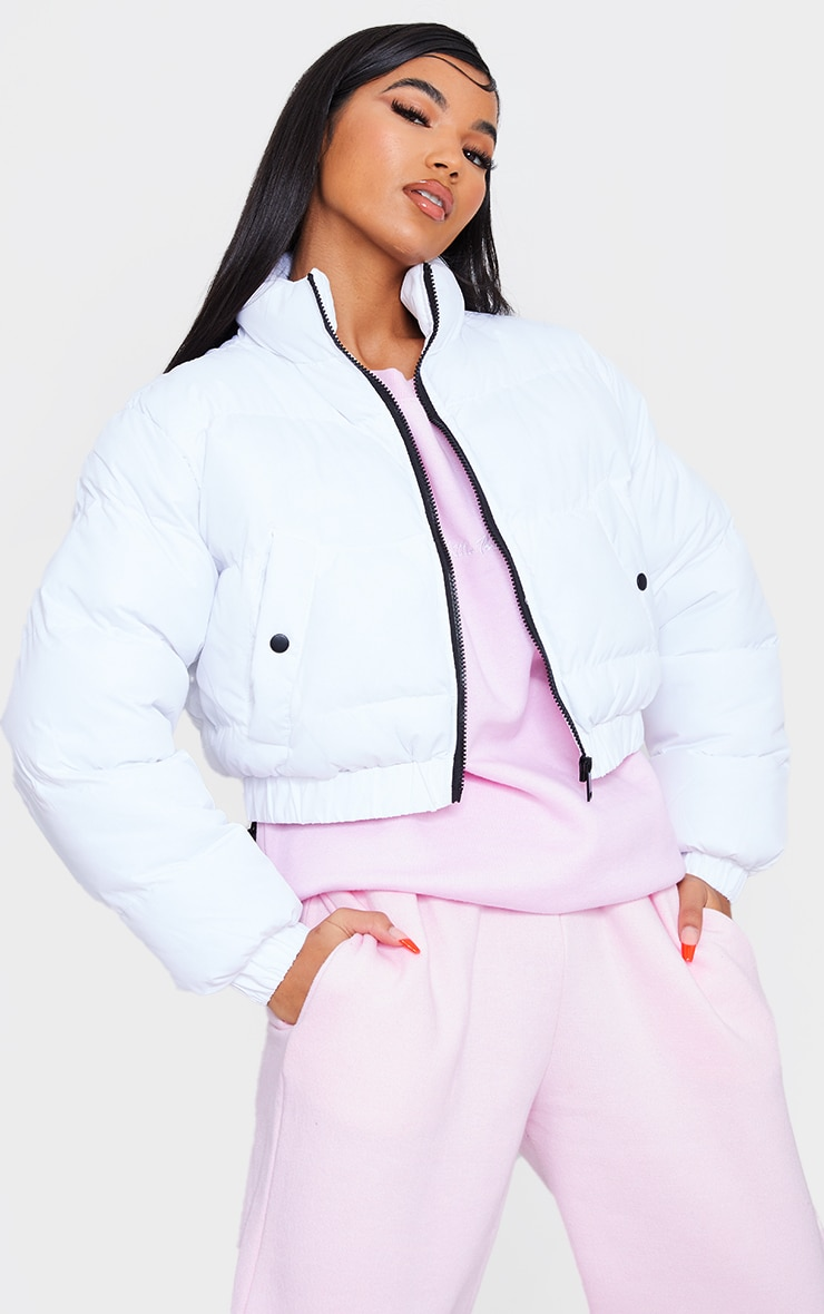 White Cropped Bubble Zip Detail Puffer Jacket 1