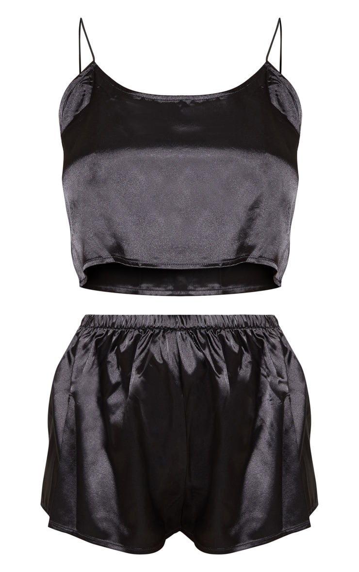 Issie Black Satin Pyjama Cami Shorts Set 3