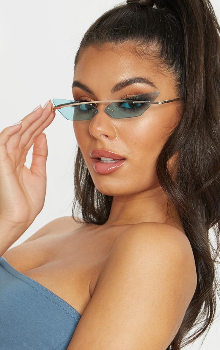 Blue Lens Brow Bar Cat Eye Sunglasses 1