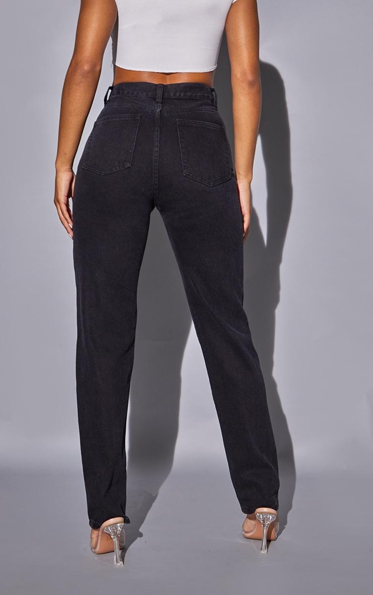 Recycled Washed Black Basic Long Leg Straight Leg Jeans 3