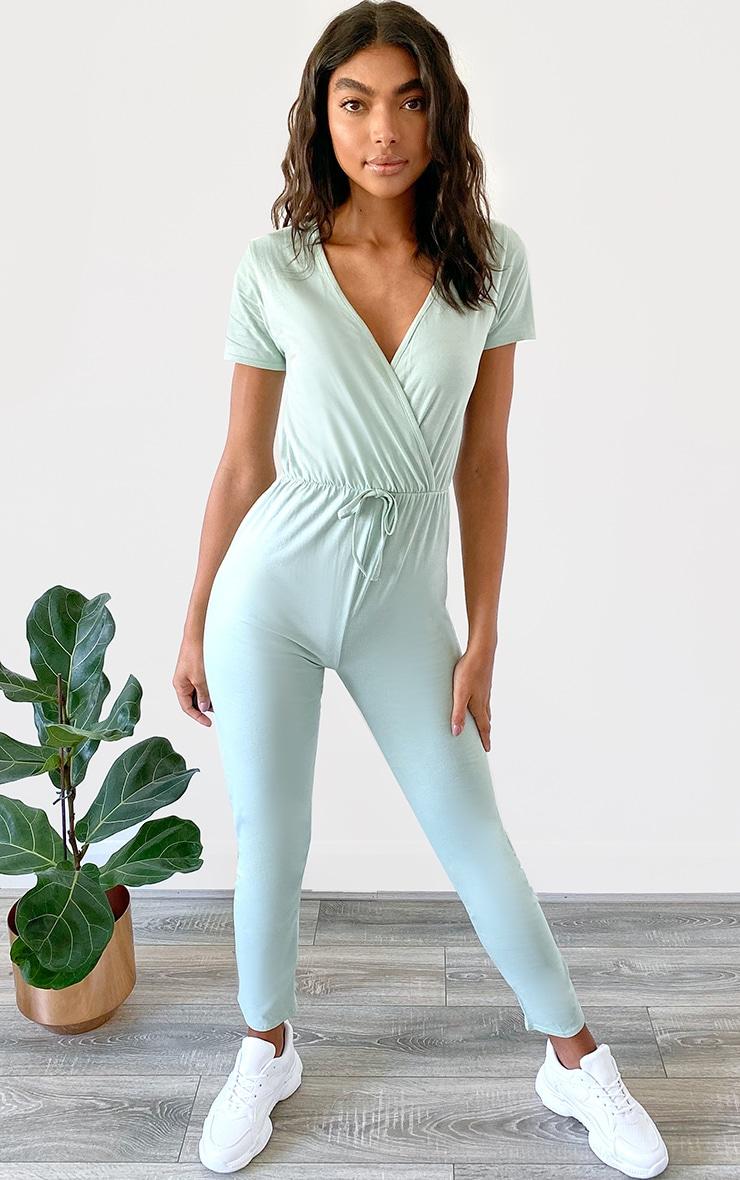 Sage Green Jersey Wrap Short Sleeve Jumpsuit 3