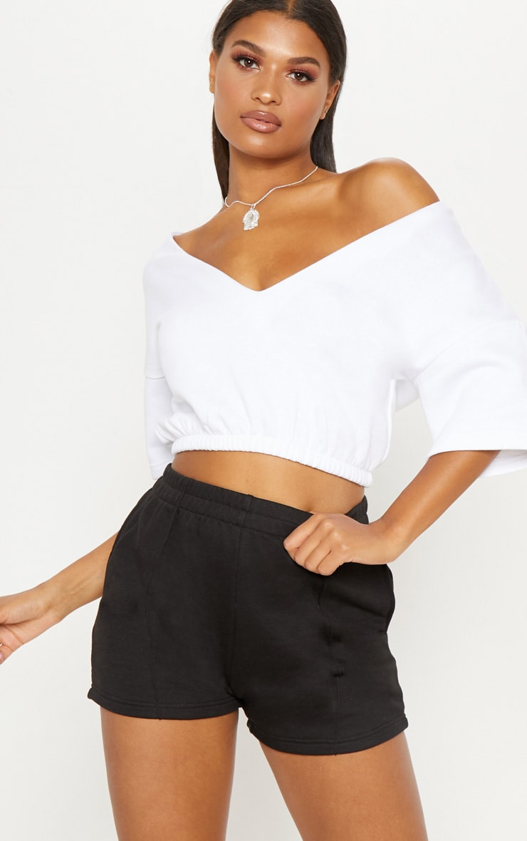 White Crop Off Shoulder Short Sleeve Sweater